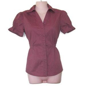 merona retro mauve purple peplum shirt size xs